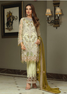 Areesha Embroidered Chiffon Unstitched 3 Piece Suit ARE20-C6 06 Pista Mehndi - Luxury Collection