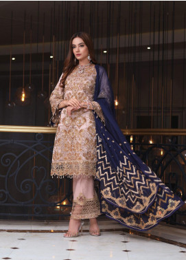 Areesha Embroidered Chiffon Unstitched 3 Piece Suit ARE20-C6 07 Skin Silk - Luxury Collection