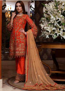 Areesha Embroidered Chiffon Unstitched 3 Piece Suit ARE20-C6 08 Orange Skin - Luxury Collection