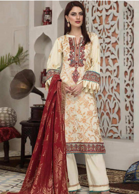 Arena by Mohagni Embroidered Linen Unstitched 3 Piece Suit AMO20LN 04 - Winter Collection