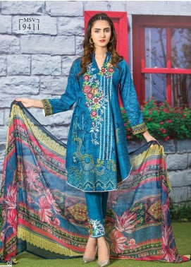 Master Fabrics Embroidered Lawn Unstitched 3 Piece Suit MF20AL MSV-411 - Summer Collection