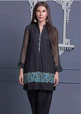 Areeba Saleem Embroidered Chiffon Unstitched Kurties AS18L 01 - Black & White Collection