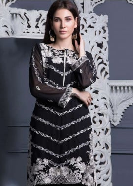 Areeba Saleem Embroidered Chiffon Unstitched Kurties AS18L 06 - Black & White Collection