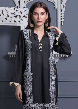 Areeba Saleem Embroidered Khaadi Net Unstitched Kurties AS18L 07 - Black & White Collection