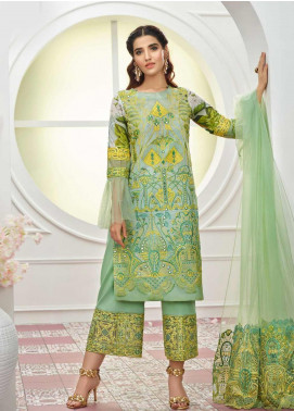 Asifa & Nabeel Embroidered Lawn Unstitched 3 Piece Suit AN19F 7D LIME - Festive Collection