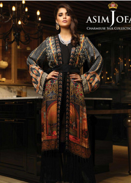 Asim Jofa Embroidered Charmeuse Unstitched 3 Piece Suit AJ18S 01 - Winter Luxury Collection