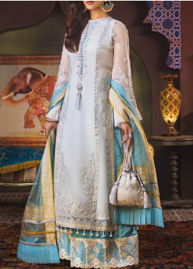 Asim Jofa Embroidered Organza Unstitched 3 Piece Suit AJ20FZ-04 - Luxury Collection