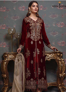 Liyana by Asim Jofa Embroidered Velvet Unstitched 3 Piece Suit AJ20V 04 - Winter Collection
