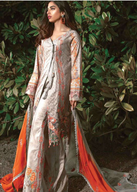 Asim Jofa Embroidered Lawn Unstitched 3 Piece Suit AJ19L 11A - Spring / Summer Collection