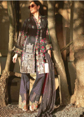 Asim Jofa Embroidered Lawn Unstitched 3 Piece Suit AJ19L 12A - Spring / Summer Collection