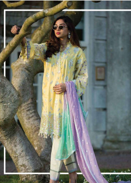Asim Jofa Embroidered Lawn Unstitched 3 Piece Suit AJ19L 3A - Spring / Summer Collection
