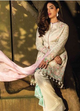 Asim Jofa Embroidered Lawn Unstitched 3 Piece Suit AJ19L 3B - Spring / Summer Collection