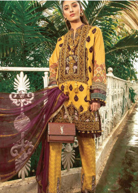 Asim Jofa Embroidered Lawn Unstitched 3 Piece Suit AJ19L 8A - Spring / Summer Collection