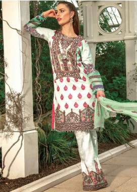 Asim Jofa Embroidered Lawn Unstitched 3 Piece Suit AJ19L 8B - Spring / Summer Collection