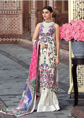 Asim Jofa Embroidered Lawn Unstitched 3 Piece Suit AJ20LL 12A - Luxury Collection