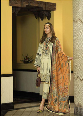 Asim Jofa Embroidered Lawn Unstitched 3 Piece Suit AJ20LL 1B - Luxury Collection
