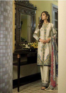 Asim Jofa Embroidered Lawn Unstitched 3 Piece Suit AJ20LL 3A - Luxury Collection