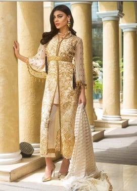 Asim Jofa Embroidered Organza Unstitched 3 Piece Suit AJ19O 3 - Luxury Collection