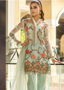 Asim Jofa Embroidered Organza Unstitched 3 Piece Suit AJ19O 8 - Luxury Collection