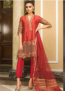 Asim Jofa Embroidered Cotton Net Unstitched 3 Piece Suit AJ19O 9 - Luxury Collection