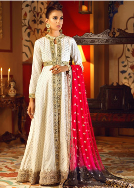 Asim Jofa Embroidered Raw Silk Unstitched 3 Piece Suit AJ19C 01 - Wedding Collection