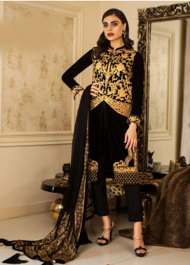 Asim Jofa Handwork Embroidered Velvet Unstitched 3 Piece Suit AJ18V 01 - Luxury Winter Collection