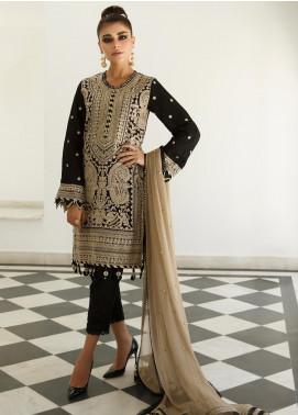 Asim Jofa Embroidered Raw Silk Unstitched 3 Piece Suit AJ19Z 02 - Luxury Collection