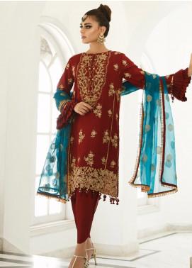 Asim Jofa Embroidered Raw Silk Unstitched 3 Piece Suit AJ19Z 06 - Luxury Collection