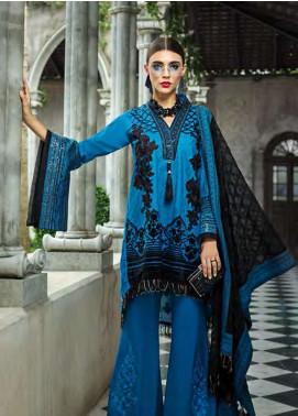 AUJ Embroidered Cotton Silk Unstitched 3 Piece Suit AUJ18F 04 - Eid Collection