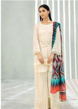 AUJ Embroidered Lawn Unstitched 3 Piece Suit AUJ18L 01 - Spring / Summer Collection