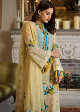 Ayesha Ibrahim by ZS Embroidered Chiffon Unstitched 3 Piece Suit AYI18C Godze - Luxury Collection