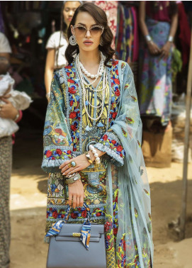 Ayesha Ibrahim by ZS Embroidered Lawn Unstitched 3 Piece Suit AYI18L 12 - Spring / Summer Collection