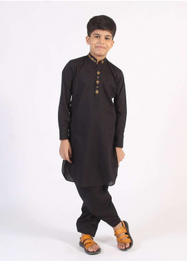 Aizaz Zafar Cotton Embroidered Kameez Shalwar for Boys - Black AZ18B 200