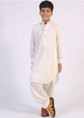 Aizaz Zafar Cotton Embroidered Boys Kameez Shalwar - Cream AZ18B 201