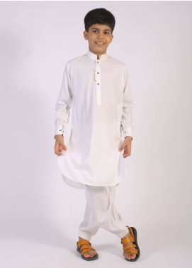 Aizaz Zafar Cotton Embroidered Kameez Shalwar for Boys - Off White AZ18B 202