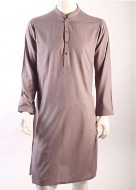 Aizaz Zafar Cotton Plain Texture Men Kurtas - Brown AZ18M 008