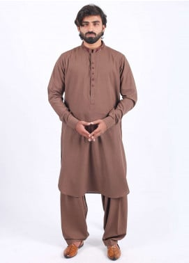 Aizaz Zafar Wash N Wear Embroidered Shalwar Kameez for Men - Brown AZ18M 019