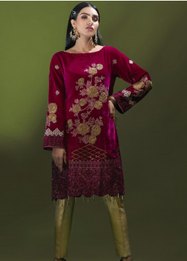 Azalea Embroidered Velvet Unstitched Kurties AZA19WF 01 - Winter Collection