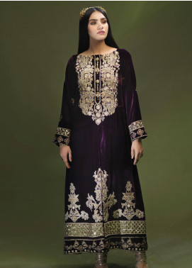 Azalea Embroidered Velvet Unstitched Kurties AZA19WF 02 - Winter Collection