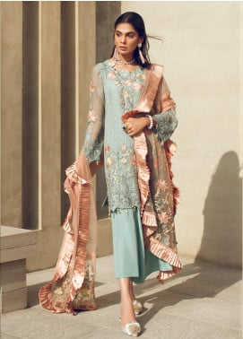 Azalea Embroidered Chiffon Unstitched 3 Piece Suit AZA19F 3 - Luxury Collection
