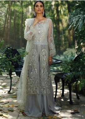 Azalea Embroidered Net Unstitched 3 Piece Suit AZA20LF 01 Pearl Grey - Winter Collection