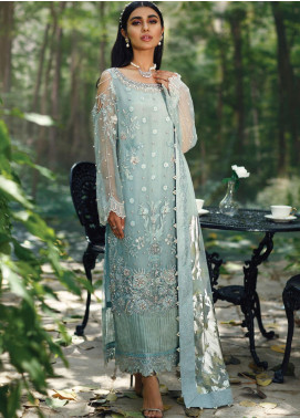 Azalea Embroidered Organza Unstitched 3 Piece Suit AZA20LF 06 Icy Blue - Winter Collection