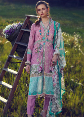 Azalea Printed Lawn Unstitched 3 Piece Suit AZA19L 10 ROSY PINK - Spring / Summer Collection