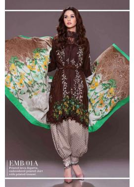 Al Zohaib Embroidered Lawn Unstitched 3 Piece Suit AZE17L 1A