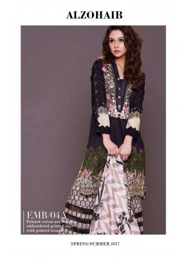 Al Zohaib Embroidered Lawn Unstitched 3 Piece Suit AZE17L 4A