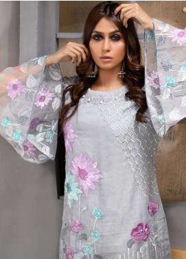 Azure Embroidered Organza Unstitched Kurties AZU18F 06 - Formal Collection