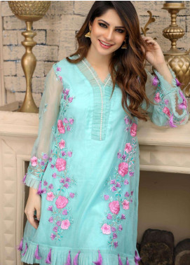 Azure Embroidered Organza Unstitched Kurties AZU18F 07 - Formal Collection