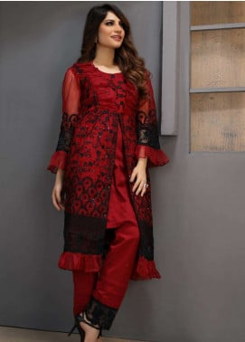 Azure Embroidered Organza Unstitched Kurties AZU18F 09 - Formal Collection