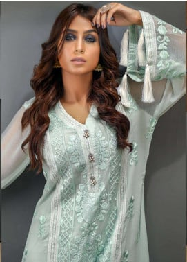 Azure Embroidered Chiffon Unstitched Kurties AZU18F 10 - Formal Collection