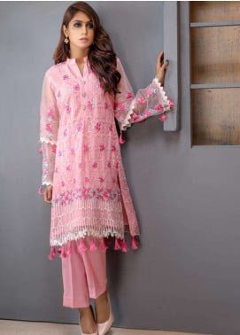 Azure Embroidered Cotton Net Unstitched Kurties AZU18F 14 - Formal Collection